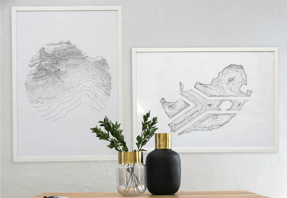 These gorgeous artworks by Maria Magdelena really brings a room together.