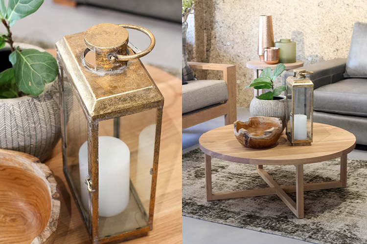 copper and wood home accessories
