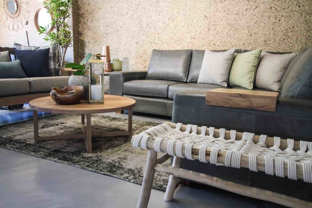 lounge setting with leather couch