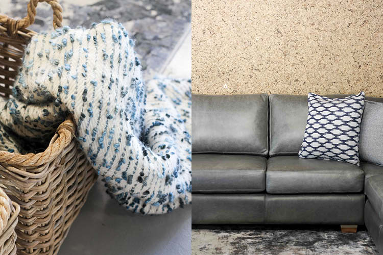 grey couch with cushion